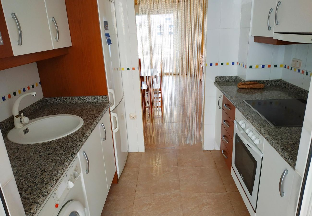 equipped kitchen, washing machine, ceramic hob, beach, new apartments